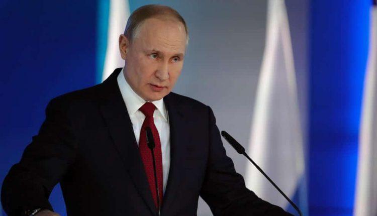Le président russe Vladimir Poutine lors d'un discours au Kremlin