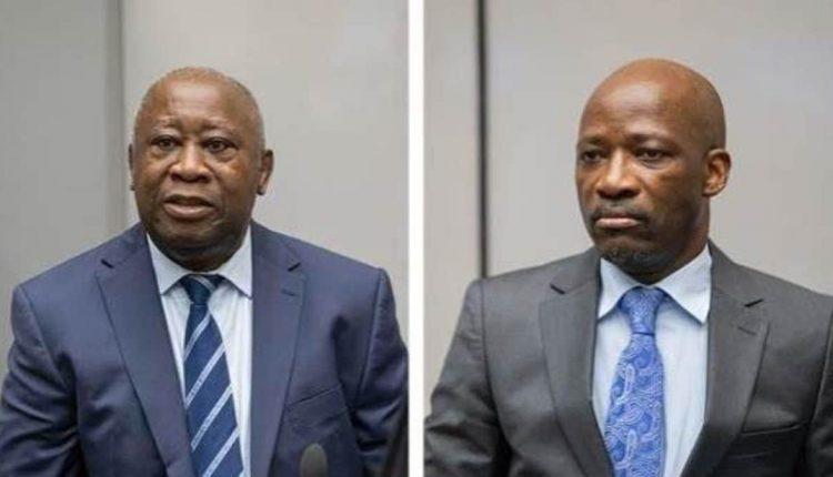 L'ancien ministre de la Jeunesse Charles Blé Goudé (g) et l'ancien président ivoirien Laurent Gbagbo (d), à la cour de la CPI, à La Haye.